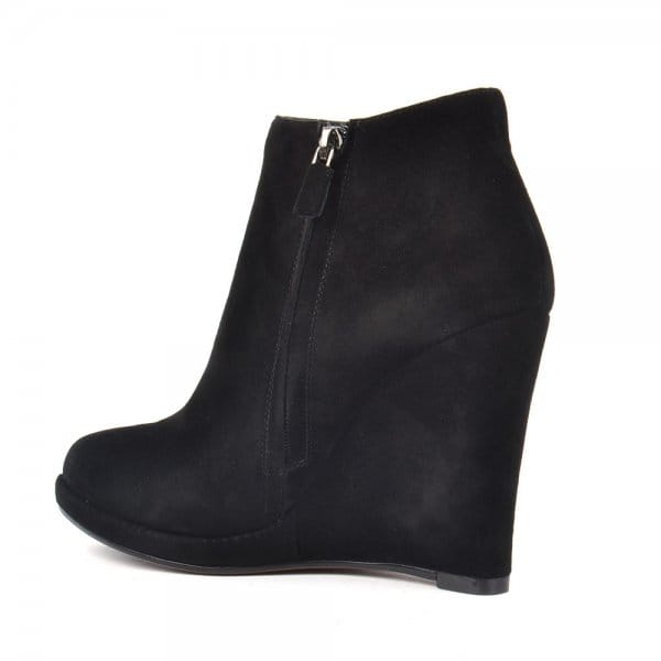 lola black suede wedge ankle boot
