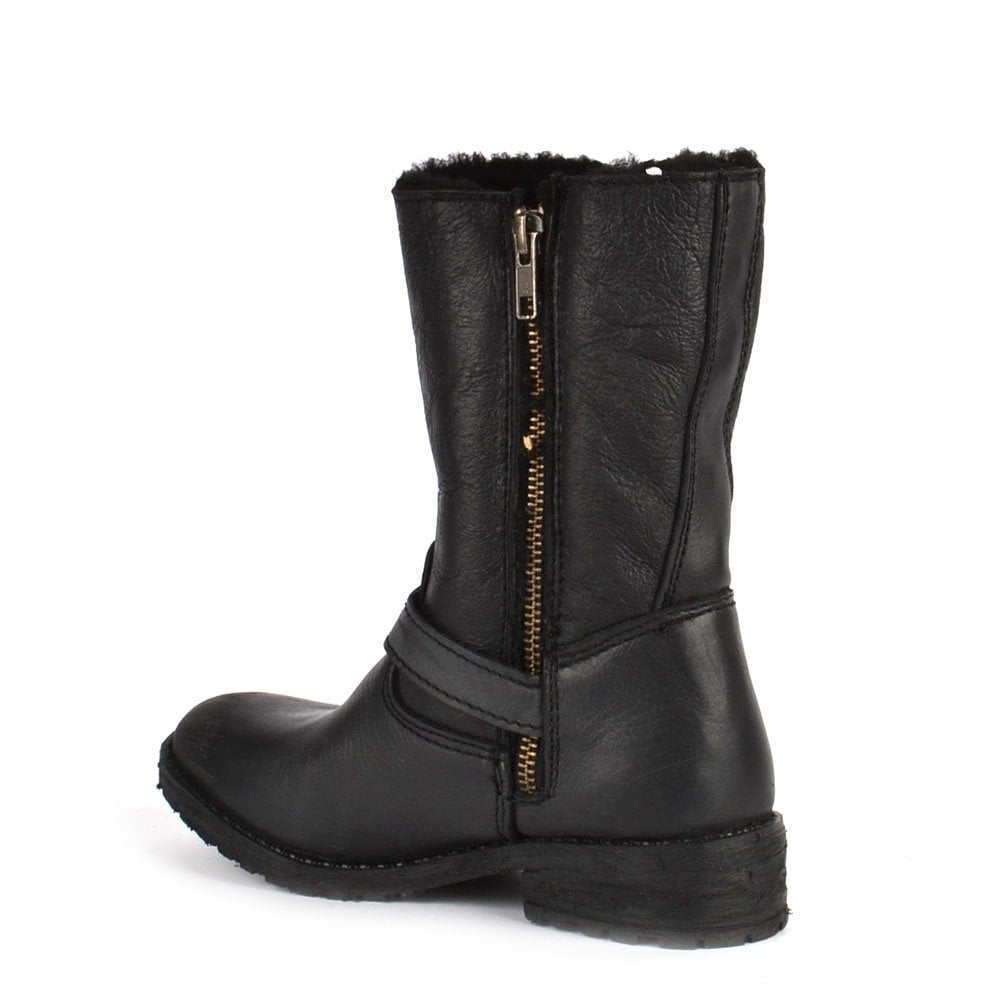 ash toffee black leather shearling lined biker boot