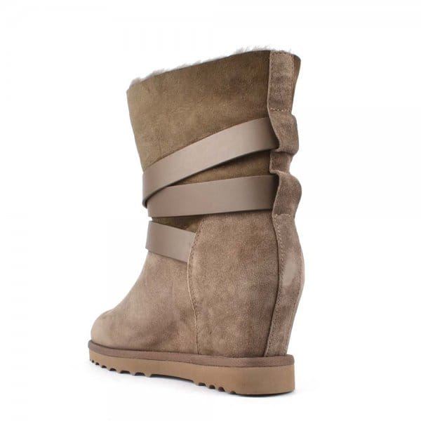 ash yes topo suede fleece lined wedge boot