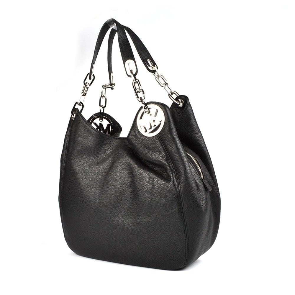 michael michael kors fulton hobo black leather shoulder bag. Black Bedroom Furniture Sets. Home Design Ideas