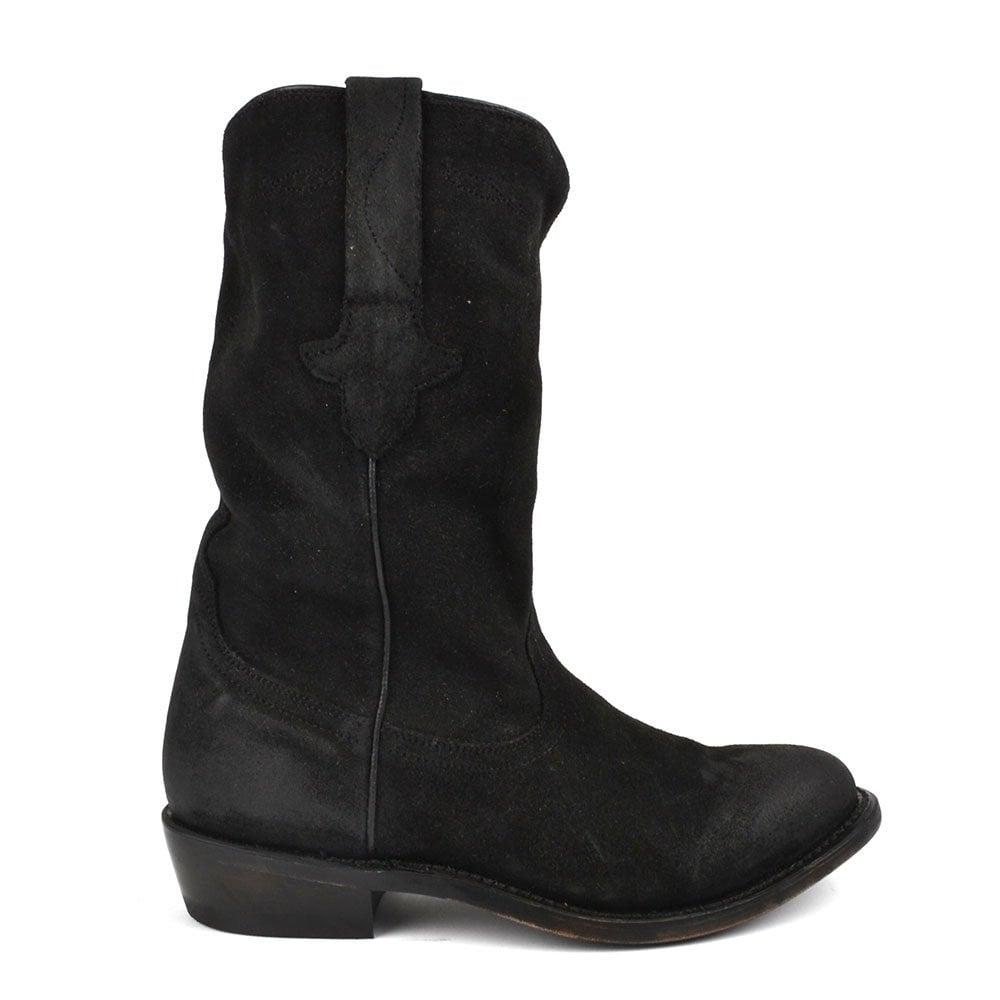 ash justin black suede cowboy boot