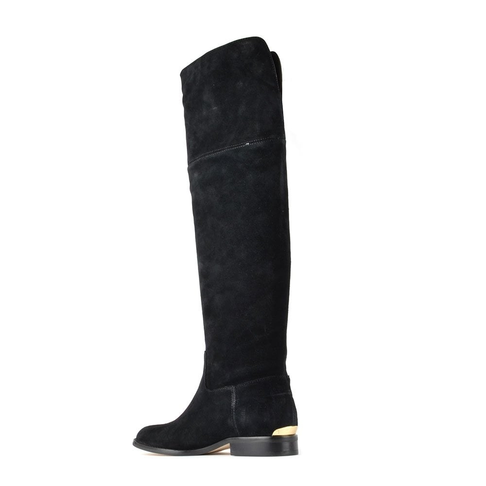 michael michael kors black suede knee high flat boot