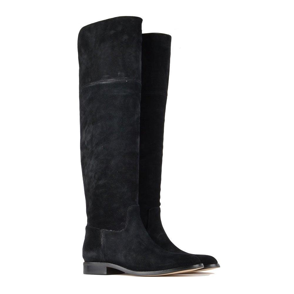 michael michael kors black suede knee high flat boot