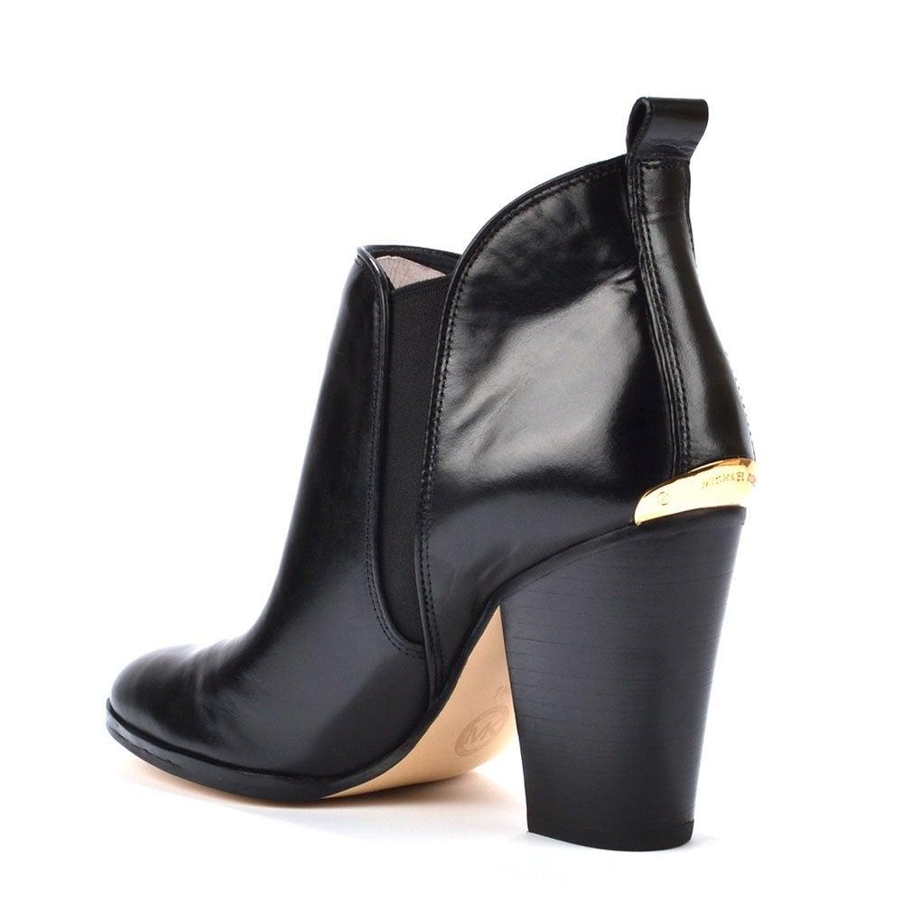 michael michael kors black leather ankle boot
