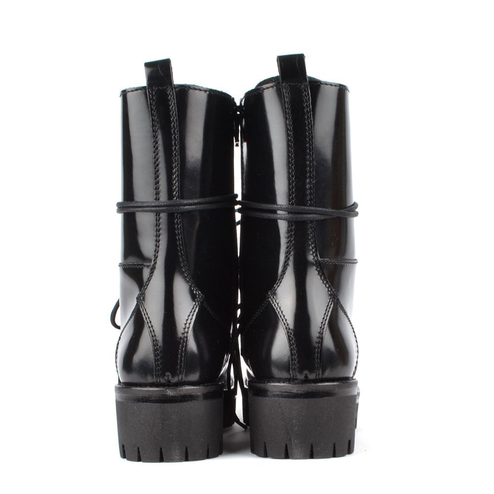 mally black patent leather high top lace up boot