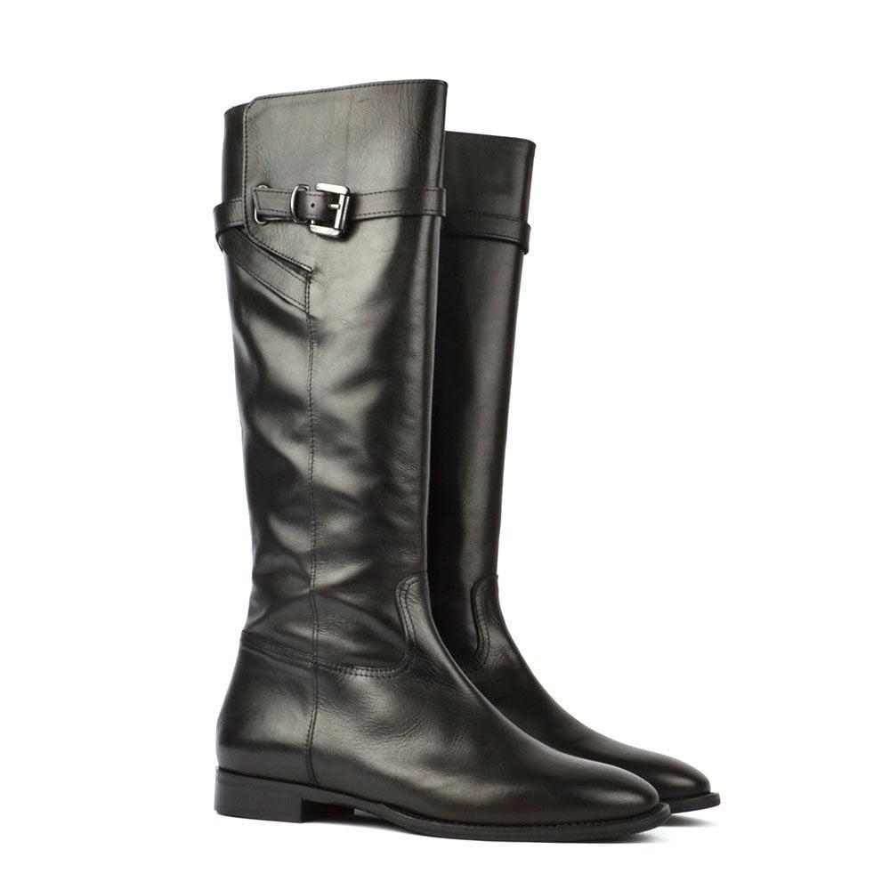 italian black italian leather knee high boots