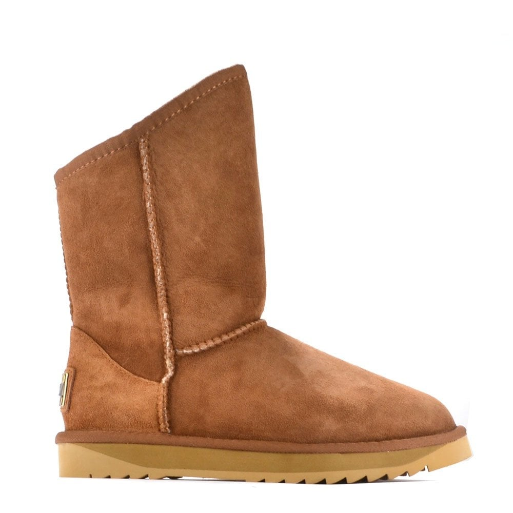 Maly Winter Cosy Short Chestnut Sheepskin Lined Boot ...