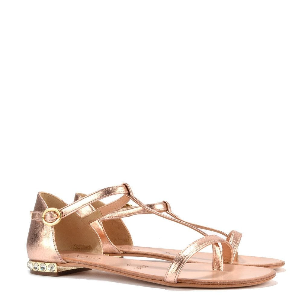 Campo Dei Fiori Rose Gold T Strap Sandal With Jewel Heel