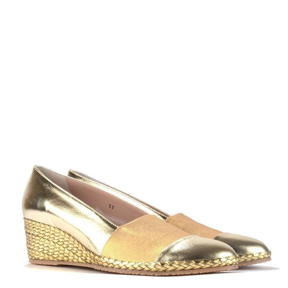 Elia B Shoes Pelloto Gold Wedge Pump Elia B Shoes From