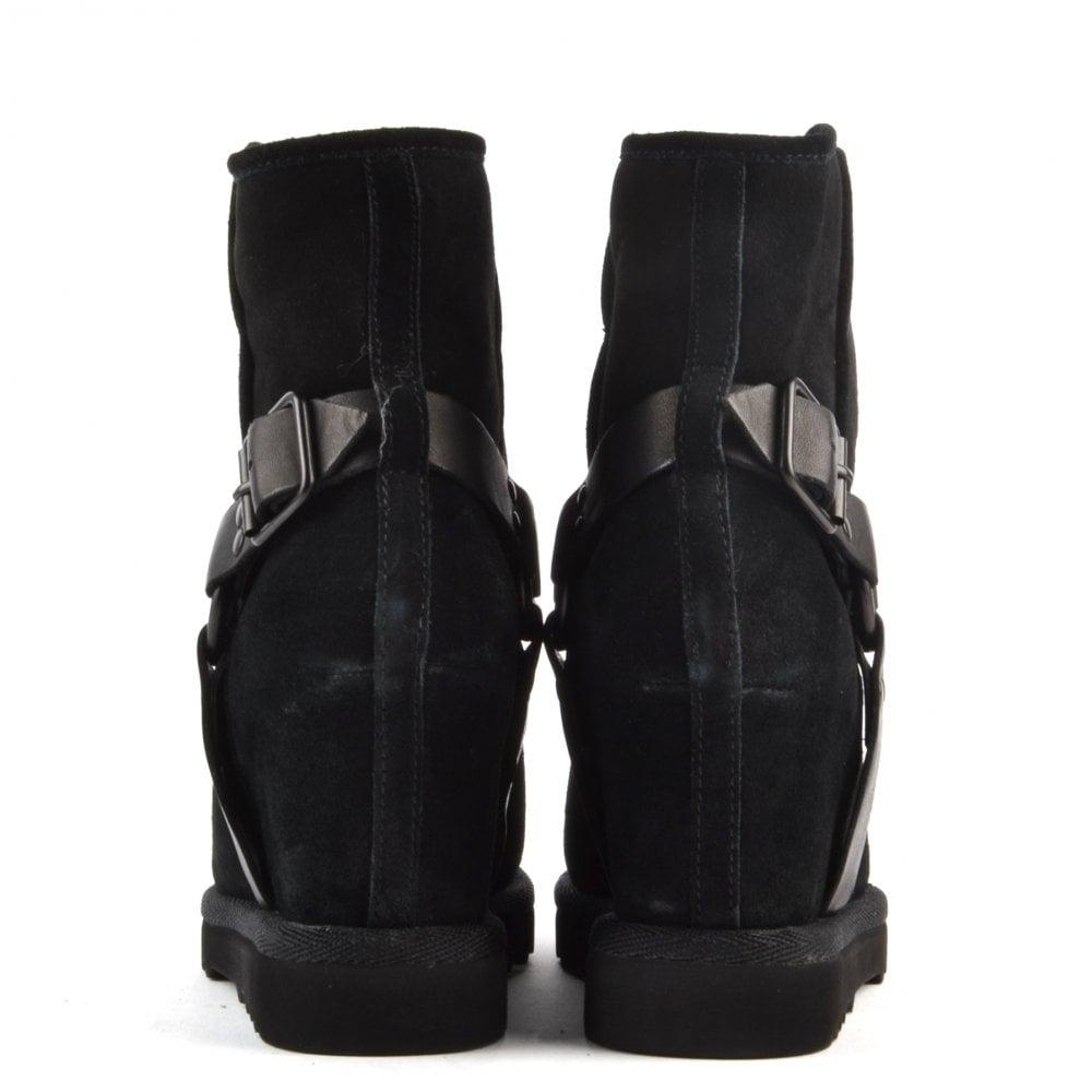 ash footwear youri black suede shearling wedge boot ash
