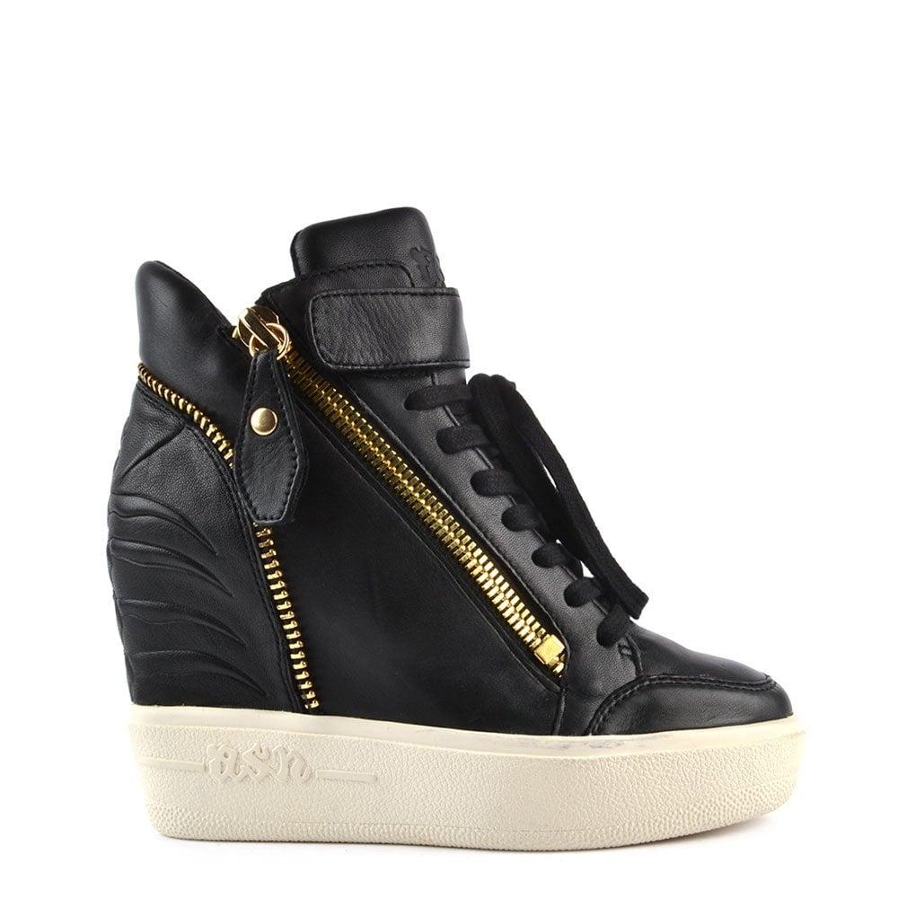 Ash Footwear Alfa Black Leather Wedge Trainer Ash