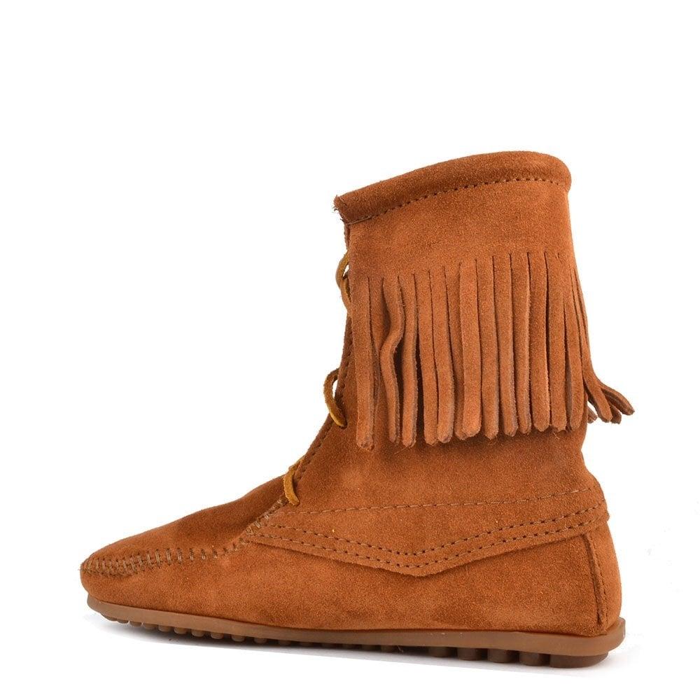 minnetonka fringe brown suede trer boot