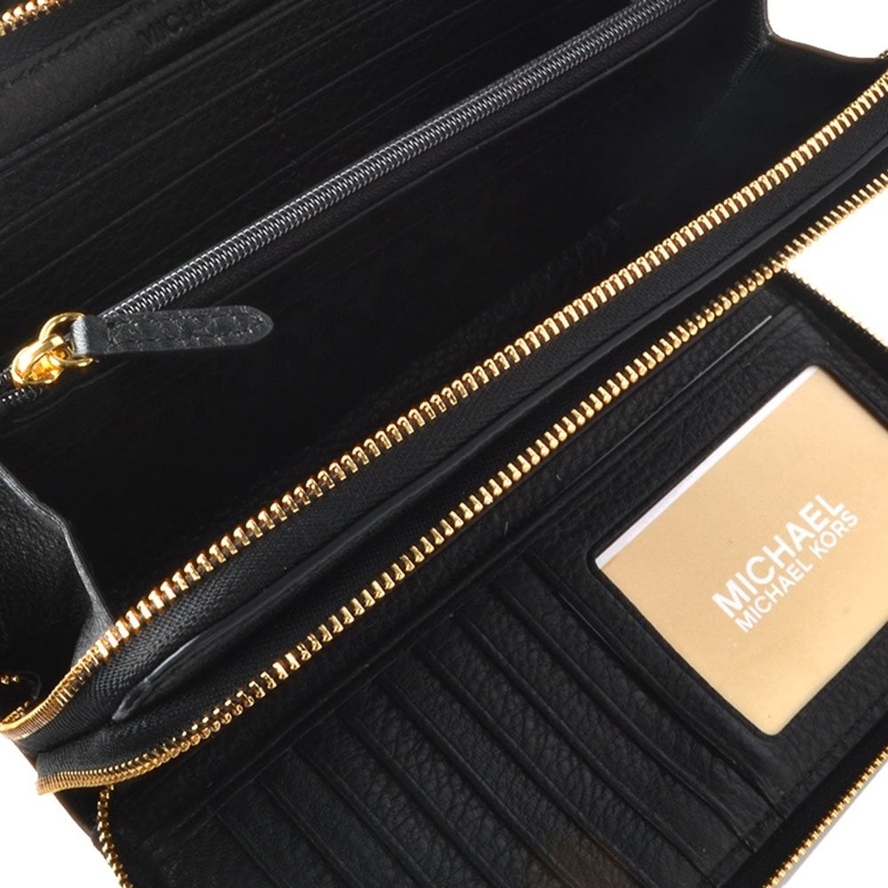 Michael By Michael Kors Adele Black Double Zip Wallet