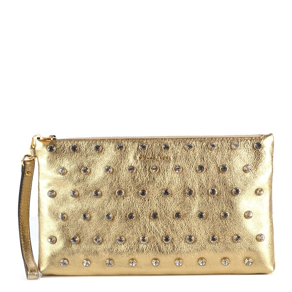 michael by michael kors adrienne pale gold crystal embellished zip clutch michael by michael. Black Bedroom Furniture Sets. Home Design Ideas