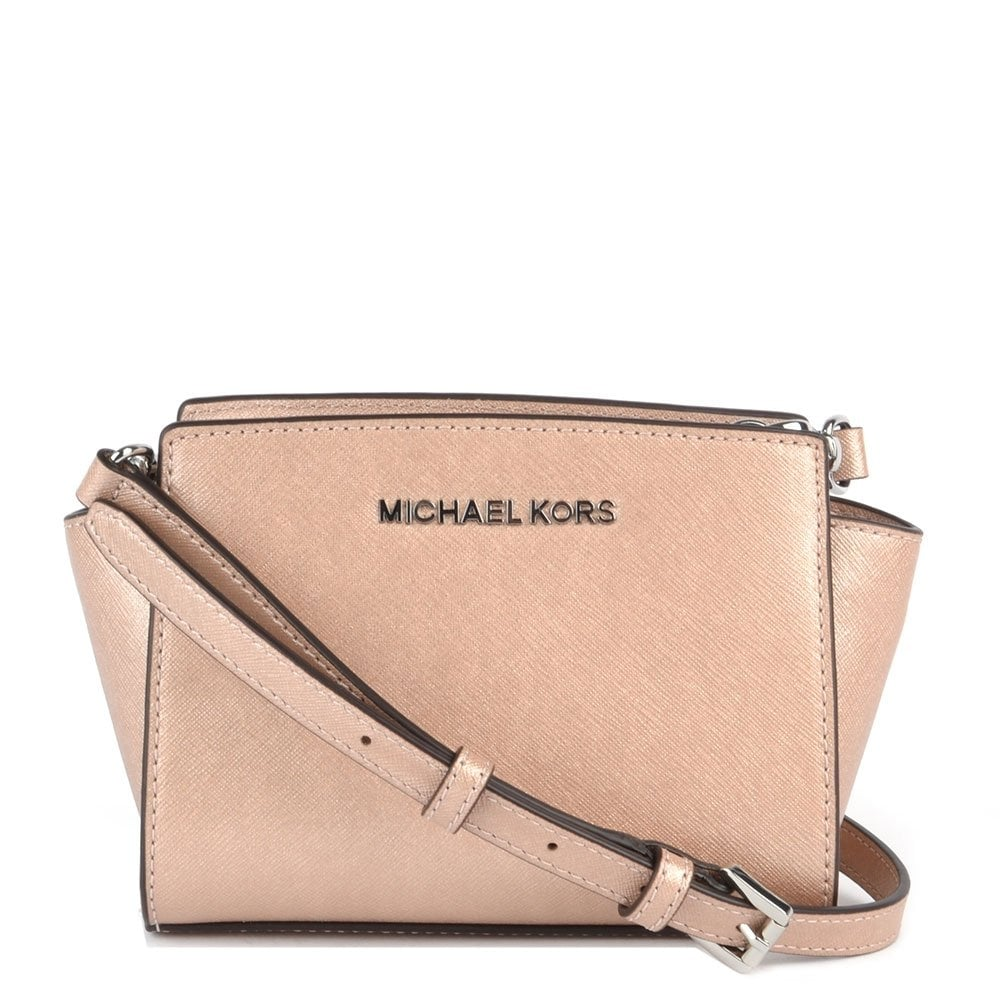 michael by michael kors selma mini pink saffiano messenger. Black Bedroom Furniture Sets. Home Design Ideas