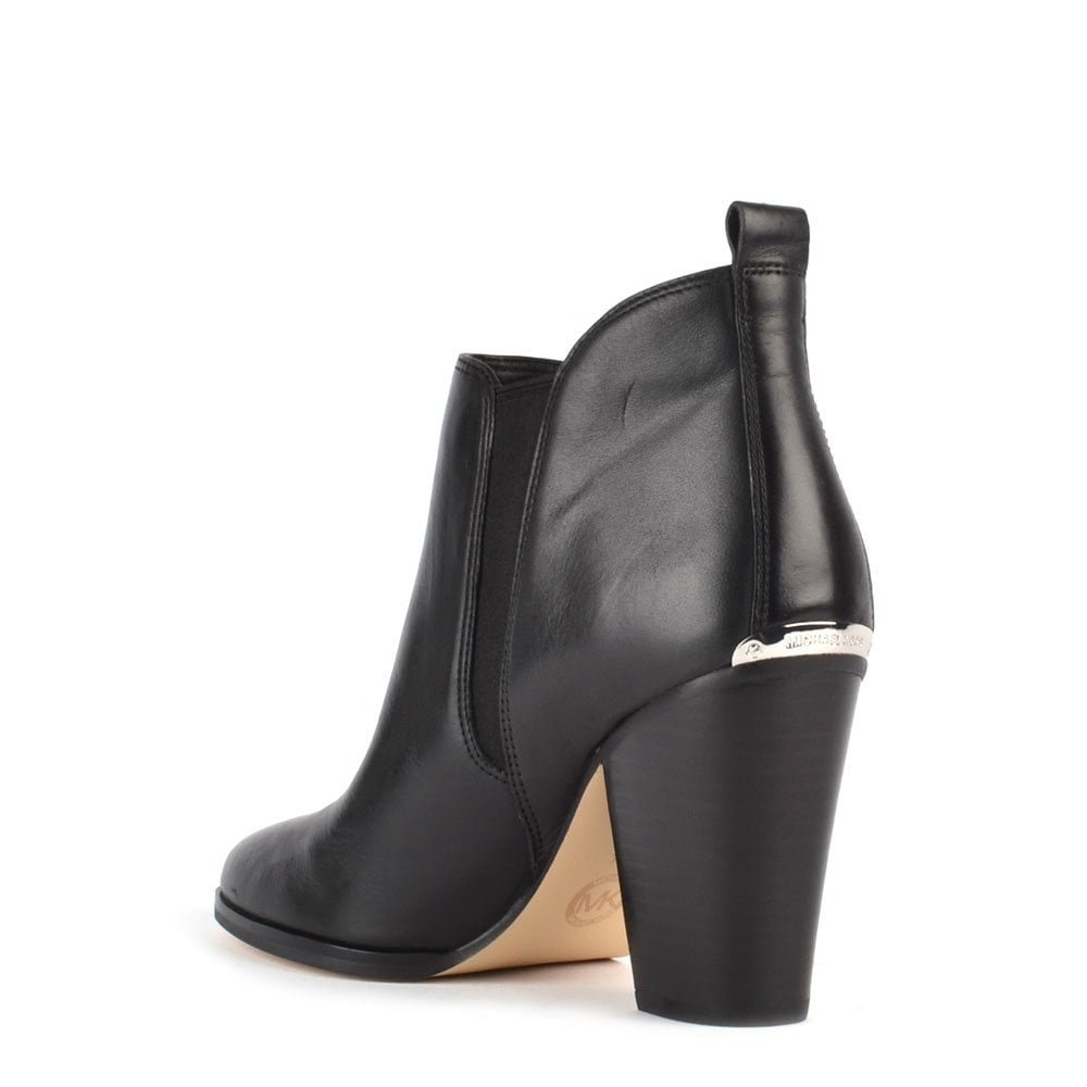 michael by michael kors black leather ankle boot