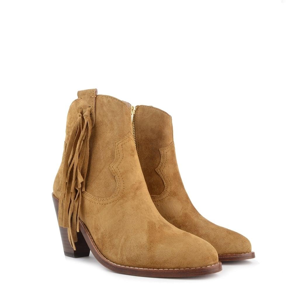 ash isha camel suede tassel ankle boot