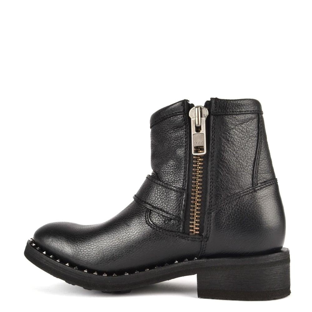 ash footwear speed black leather biker boot shop now