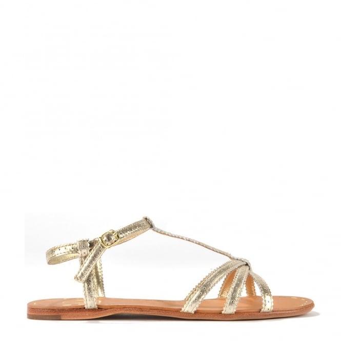 Ash Footwear Lui Platine Leather Flat Sandal