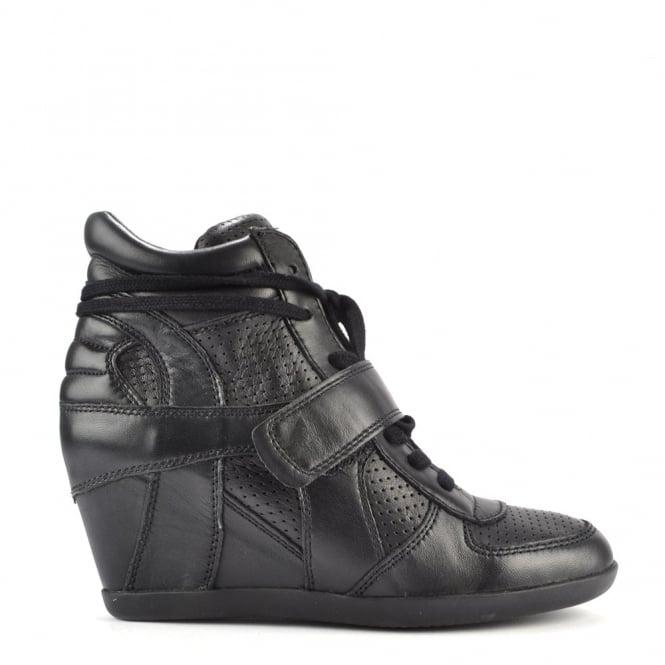Ash Footwear Bowie Black leather Wedge Hi-Top Trainers