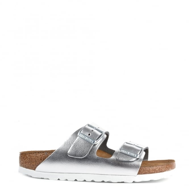 birkenstock arizona metallic silver two buckle strap sandal. Black Bedroom Furniture Sets. Home Design Ideas