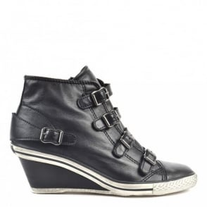 Genial Black Leather Wedge Trainers With Black Toe Cap