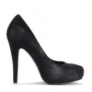 Eloise Black Pony Hair Court Shoes