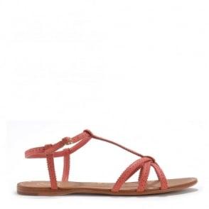 Lui Peach Leather Flat Sandal