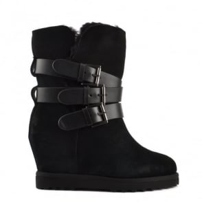 Yes Black Fleece Lined Wedge Buckle Boot