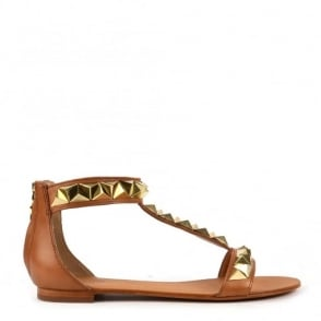 Mosaic Nude Leather Studded Sandal