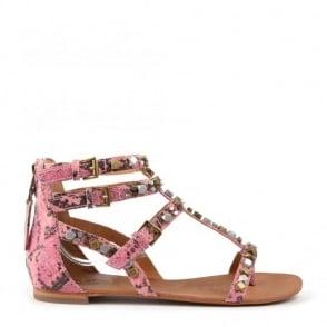 Mykonos Bis Pink Anaconda Print Sandals