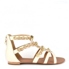 Massai Cream Leather Gold Chain Sandals