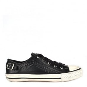 Virgo Black Leather Vulcanised Trainer