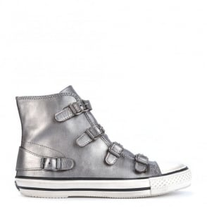 Virgin Metallic Piombo Leather Buckle Trainer