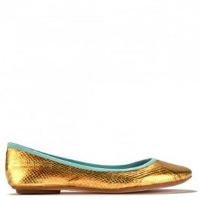 Instinct Bis Gold and Turquoise Ballet Flats