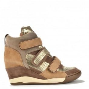 Alex Bis Platine And Chamois Hi-Top Wedge Trainers