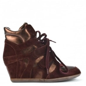 Bea Prune & Tmoro Wedge Hi-Top Trainers