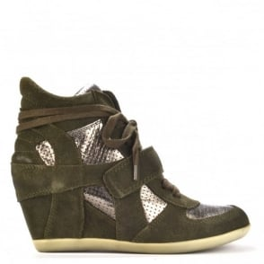 Bowie Military Green and Piombo Wedge Hi-Top Trainers