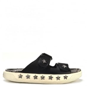 Kab Black Leather Flatform Sandal