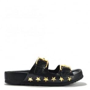 United Black Croc Leather Flatform Sandal