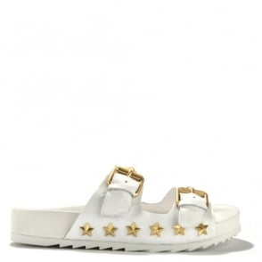 United White Croc Leather Flatform Sandal