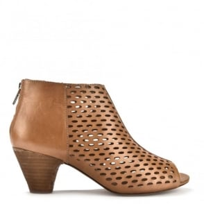 Imagine Taupe Perforated Peep Toe Boot