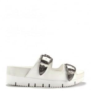 Texmex White Leather Buckled Sandal