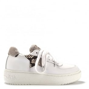 Fool White Leather and Python Trainer