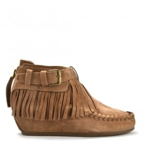 Spot Nuts Suede Fringe Wedge Ankle Boot