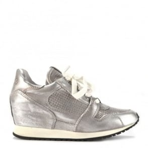 Dean Metallic Silver Leather Wedge Trainer