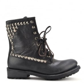Ralph Black Leather Tarnished Studded Boot