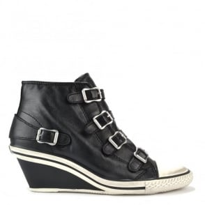 Genial Low Wedge Black leather Trainer