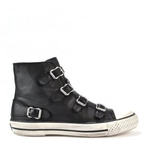 Virgin Black Leather Buckle Trainer