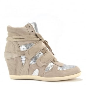 Bea Clay and Silver Wedge Hi-Top Trainer